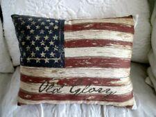 2-pc ☆ AMERICAN FLAG PILLOW ☆ Patriotic Lyrics July 4th STAR SPANGLED BANNER USA