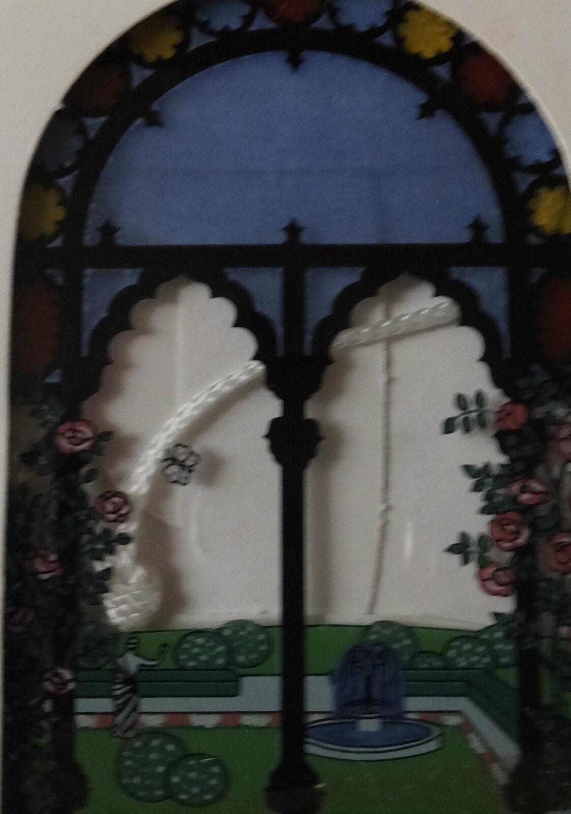 1970's Robert Jacobson Designed - Glass Suncatcher - Grecian Balcony & Garden