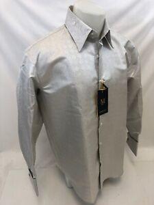 Mens-MANZINI-Button-Down-Dress-Shirt-MULTI-COLOR-PAISLEY-FRENCH-CUFF-MEDIUM-49