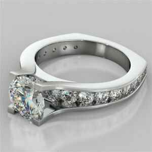 3.74 Ct Round Real Moissanite Band Set 14K Solid White Gold Wedding Ring Size 9