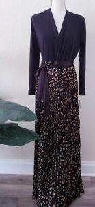 Lularoe-Elegant-Deanne-Wrap-Dress-Black-Gold-Size-Small-NWT-Long-Crinkle-Pleat