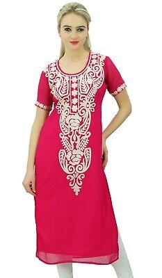 Bimba Women Georgette Designer Kurtis Tunic Top Indian Straight Embroidered