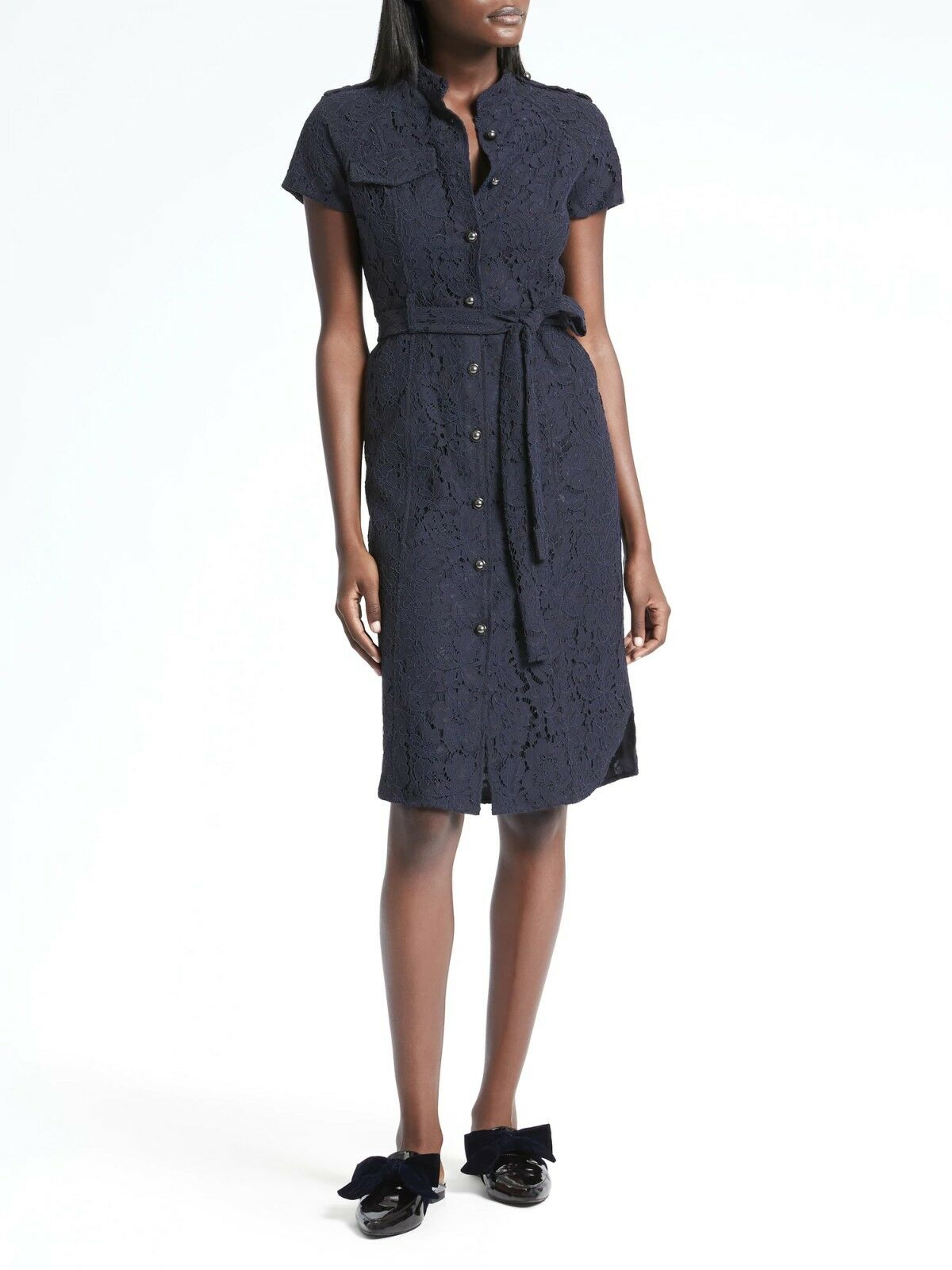 NWT Banana Republic Lace Belted Shirtdress, Navy Größe 0         E124