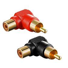 2 x Hochwertige Cinch Winkel Adapter rot+schwarz vergoldet Stecker auf Kupplung