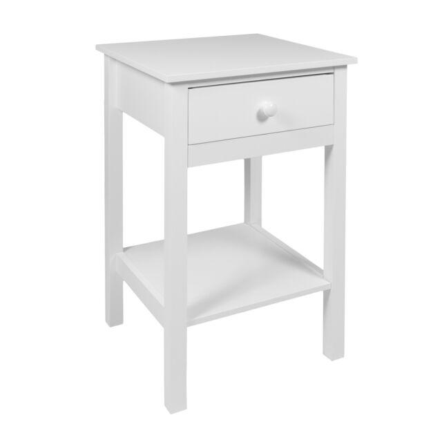 Woodluv Bedside Drawer with Shelf Cabinet Side Table Storage Unit