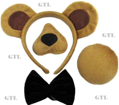 BEAR SET EARS ON HEADBAND NOSE TAIL BOW  SOUND ANIMAL WORLD BOOK DAY FANCY DRESS