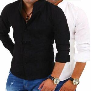 best loved 59d48 decf9 Dettagli su Camicia uomo manica lunga collo colletto coreana bianca nera  slim fit Cotone NEW