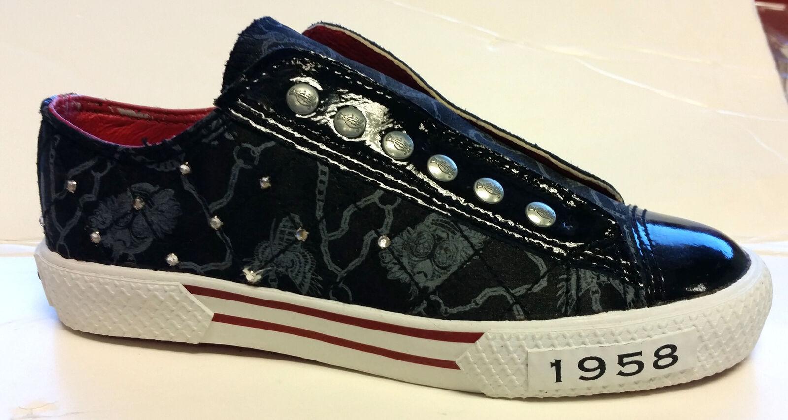 Wouomo Christian Audigier ED HARDY Satin Quilt Rhinestone scarpe nero