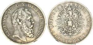 Württemberg 5 Mark Silver Small Eagle 1876 F Almost VF, Margin Error (43679)