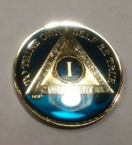 1 Year AA Sobriety Coin Medallion Rich Midnight Blue Enamel One 1st Recovery