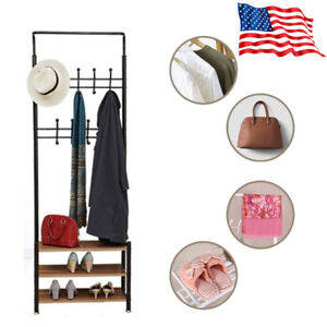 Surprising Details About Black Metal Hall Tree Coat Rack Hat Hooks Storage Stand Entryway Bench Us Caraccident5 Cool Chair Designs And Ideas Caraccident5Info