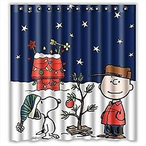 Christmas Shower Curtain Sets Waterproof Polyester Fabric Cute With