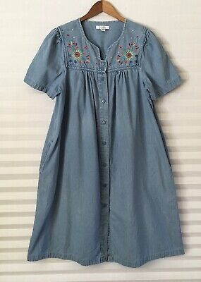 Go Softly Patio Muumuu House Dress L Blue Denim