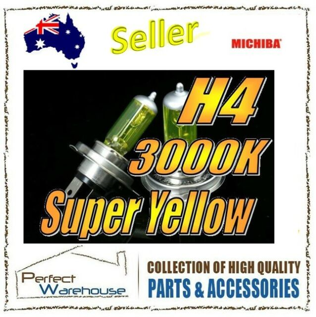 12V H4 60/55W 3000K Michiba Super Yellow Halogen Light Bulb High Low Beam Lamp
