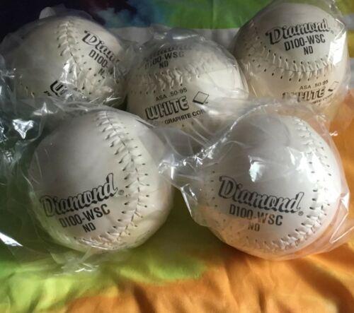 Set 5 New DIAMOND White Stitch Flyer Softballs 12 In Leather D100 WSC ASA 50-95