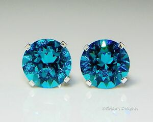 (3mm - 8mm) Turquoise Sterling Silver Earrings Made with Swarovski Crystals