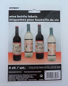 PKT-OF-4-HALLOWEEN-HORROR-PARTY-WINE-BOTTLE-LABELS-STICKERS-BLOOD