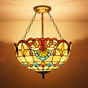 Details About 2 Lights Tiffany Stained Glass Pendant Lamp Handcrafted Bowl Chandelier Lighting