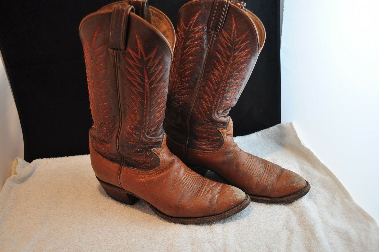 Tony Lama 2 Tone Brown 1/2 Leather Cowboy Boots 8 1/2 Brown a93581