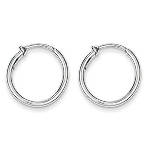 152bbb6925bcd Details about 925 Sterling Silver Rhodium Polished 2mm x 20mm Non Pierced  Hoop Earrings
