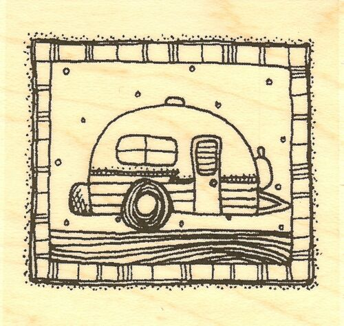 Teeny Trailer Travel Wood Mounted Rubber Stamp IMPRESSION OBSESSION NEW C19130