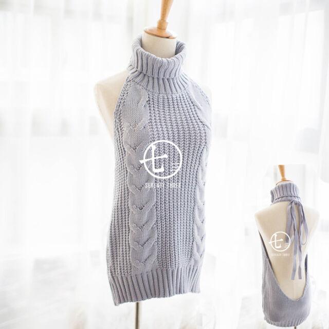 Collar So Women's Sleeveless Knit Japanese High Backless Sweater gyb6Yf7