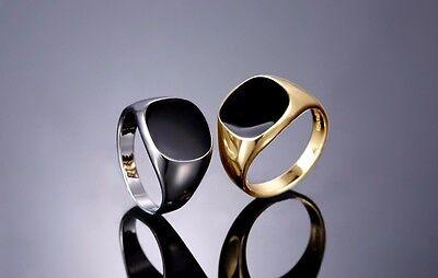 Angemessen Herren Männer Ring Gelbgold Weißgold Gold 18k Pl Silber Herrenring Onyx Onyxring Clear-Cut-Textur