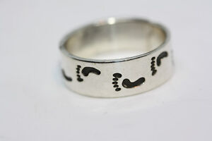 Real-Sterling-Silver-Baby-Footprint-Eternity-Mexico-Taxco-Ring-Wide-Band-Sz-12-5