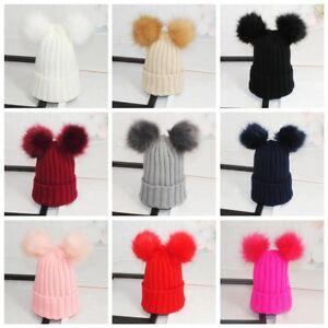 Women Newborn Baby Boy Girls Winter Double Fur Pom Bobble Knit ... 3d8c04e41d