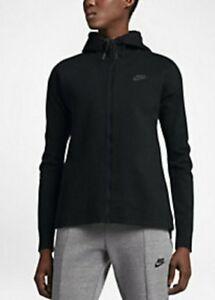 Image is loading Nike-Tech-Knit-Womens-Hooded-Windrunner-Jacket-Black-
