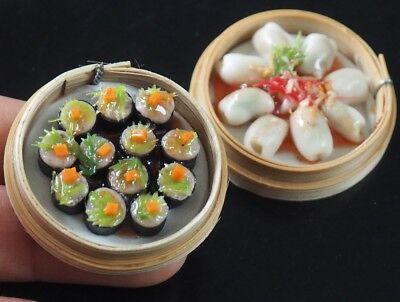 5Pcs Steamed Dumplings Dessert 1:6 Dollhouse Miniature Toys