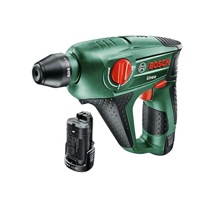 Bosch Akku-Bohrhammer Uneo 10,8V Koffer mit 2x Li Akkus 2,0Ah Zubehör 0603984008