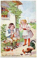 ARTIST SIGNED. ENFANTS. CHILDREN. PAQUES. EASTER  OEUFS.EGGS Veselé velikonoce !