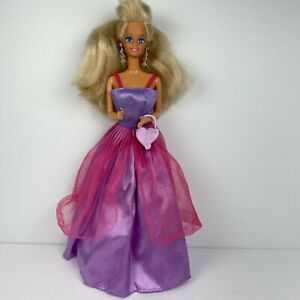 Vintage 70's Barbie Doll in Purple Pink Gown with Accessories by Mattel