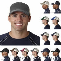 Ultraclub Classic Cut Washed Brushed Twill Unconstructed Trucker Cap - 8114