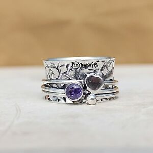 Amethyst-Ring-925-Sterling-Silver-Spinner-Ring-Meditation-Statement-Jewelry-A261