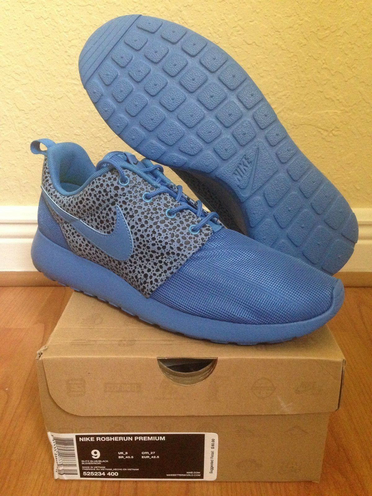 NIKE ROSHE RUN PREMIUM Safari Pack - Blitz Blue - Sz 9 - New DS - Free Ship