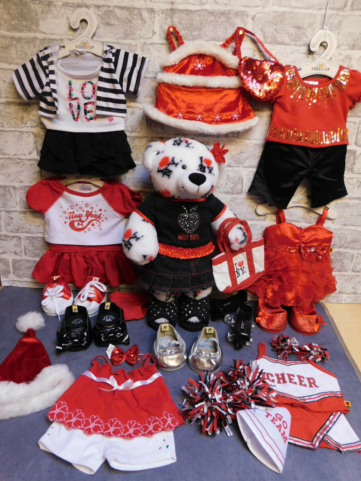 NEW York Build a Bear & Ragazze Abiti Rossi Bundle-scarpe, borsa, Regalo di Natale
