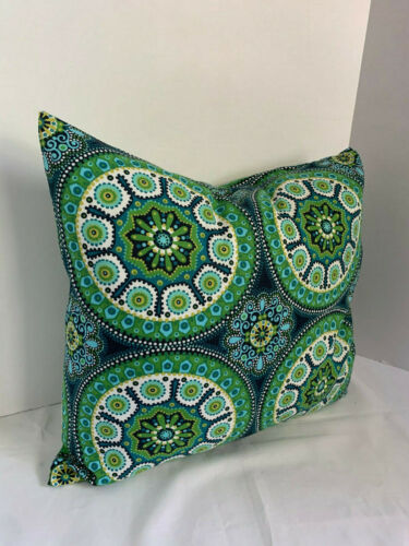 Pillow Cover Geometric Circles Blues Greens Custom Made CHOOSE Size Many Sizes