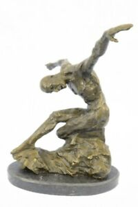Bronze-Sculpture-by-Milo-Surrealist-Abstract-Modern-Art-Yoga-Male-Statue-Decor