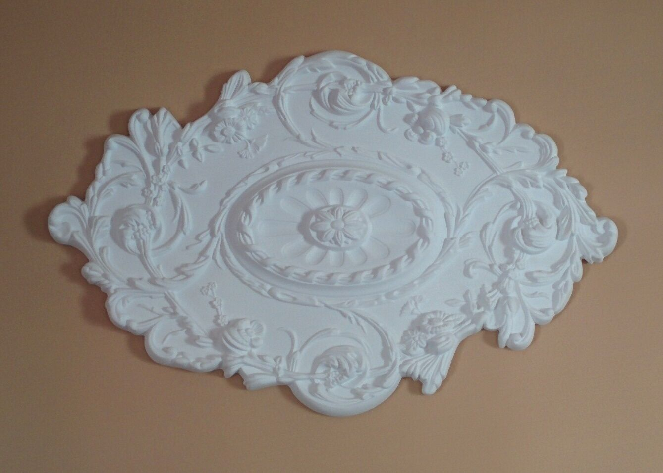 Ceiling Medallion Oval 30.5 x 20 Inch White Polyurethane large for Light fixture