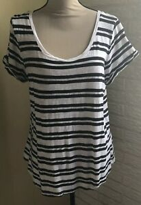Banana-Republic-Malibu-Tee-Women-039-s-Blue-White-Stripe-Short-Sleeve-Shirt-Top-XL