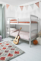 Bunk Bed Wooden Single Silk Grey Can Be Split Into 2 Singles