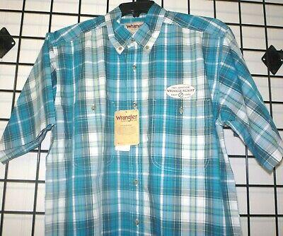 Wrangler Rugged Wear Short Sleeve Men/'s Plaid Shirt Wrangler RWS08TL Teal