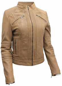 Damen-100-Nappa-Leder-taupe-plissiert-Brando-Bikerjacke