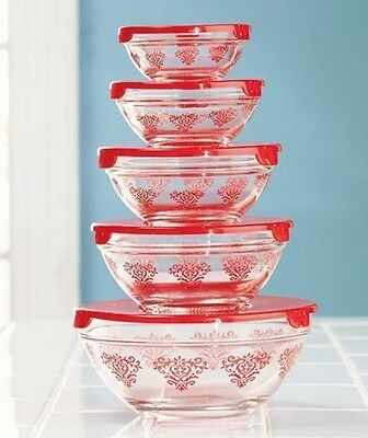 10-Pc. Glass Bowl Sets Red Damask Print Food Storage Kitchen Bowls