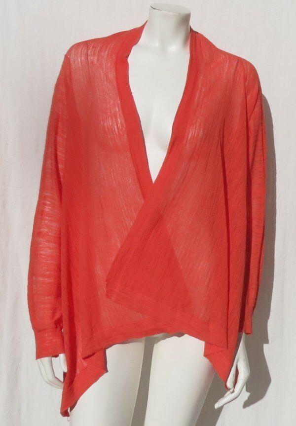 MOTH Anthropologie orange Cotton + Thin Fine Knit Cardigan Sweater size M EUC