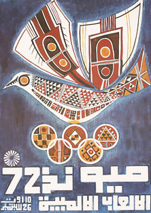 Unusual-Old-1972-Munich-Olympic-Games-Poster-Peace-Dove-Lot-411