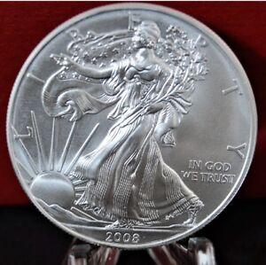 2008-Silver-American-Eagle-Coin-BU-1-oz-US-1-Dollar-Mint-Brilliant-Uncirculated