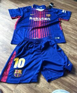 sports shoes b1dc7 b632e Details about Kids Childs Barca Barcelona Kit Shirt Shorts Age 6-7 Year Old